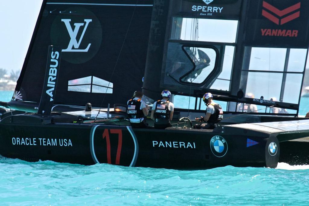 Oracle Team USA afterward - 35th America's Cup Match - Finish Race 4 - Bermuda  June 18, 2017 © Richard Gladwell www.photosport.co.nz