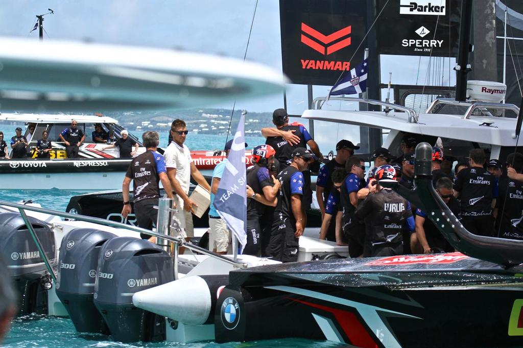 New Challenger of Record - Patrizio Bertelli (Luna Rossa, dark shirt)) looks on from the back ground chase boat after Emirates Team New Zealand - Match, Day  5 - Finishes - Race 9 - 35th America's Cup  - Bermuda  June 26, 2017 © Richard Gladwell www.photosport.co.nz