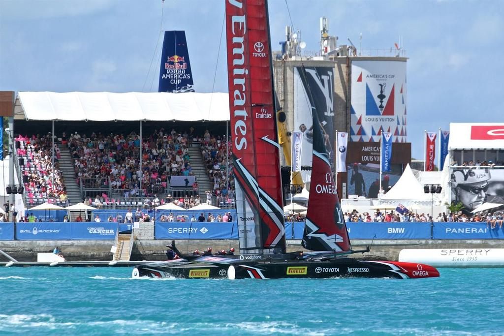 Emirates Team NZ finishes in front of a partially filled stadium - America's Cup Match - Bermuda 2017 © Richard Gladwell www.photosport.co.nz