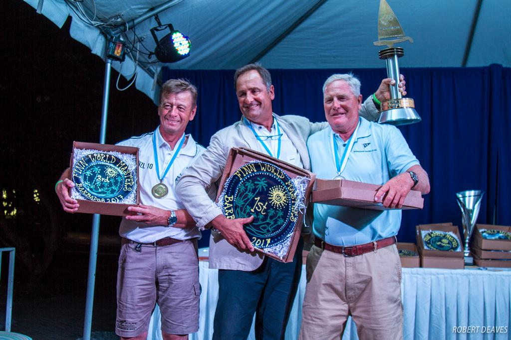 Grand Grand Masters: 3. David Hoogenboom, NZL;  1. Marc Allain des Beauvais, FRA; 2. Rob Coutts, USA - 2017 Finn World Masters ©  Robert Deaves
