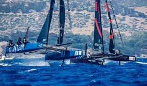 Realteam engaged in a duel with fellow Swiss crew Armin Strom – GC32 Villasimius Cup photo copyright Jesus Renedo / GC32 Racing Tour taken at  and featuring the  class
