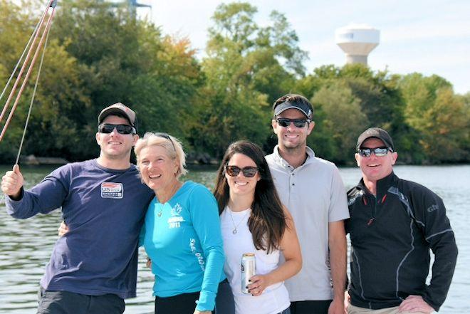 Katie Coleman Nicoll, second from left, is the secretary/treasurer of the Canadian J/24 class and a member of the 2017 J/24 World Championship regatta's organizing committee. She's here with her son Carter (left) and daughter Clarity (right), as well as Kris Hughes and Kelly Flood © Katie Coleman / Nicoll collection