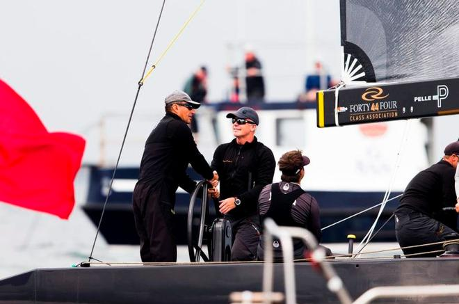 Team Nika's owner Vladimir Prosikhin and tactician Terry Hutchinson shake hands after another race win – RC44 Marstrand World Championship ©  Pedro Martinez / Martinez Studio / RC44