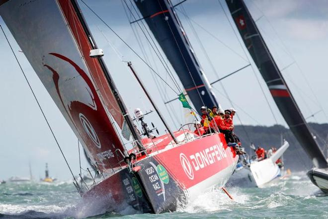 VO65 Dongfeng Race Team, skippered by Charles Caudrelier battled with MAPFRE all the way to the finish line, securing a win by under a minute – Rolex Fastnet Race ©  Paul Wyeth / RORC
