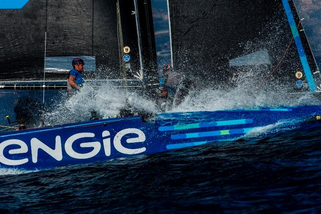 A wet ride for Sebastien Rogues' crew on board Team ENGIE – Marseille One Design ©  Jesus Renedo / GC32 Racing Tour