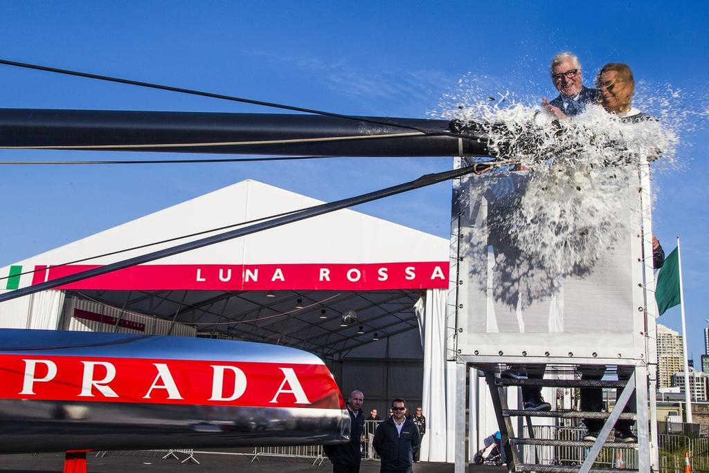 Launch of the new Luna Rossa AC72 wingsailed catamaran on Friday, Oct. 26, 2012, in Auckland, New Zealand, Miuccia Prada and Patrizio Bertelli - photo © Carlo Borlenghi/Luna Rossa http://www.lunarossachallenge.com