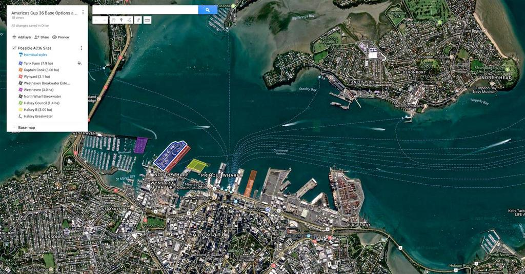 Auckland America's Cup four options - for 30,000sq metres. Image created by Mike Leyland © SW