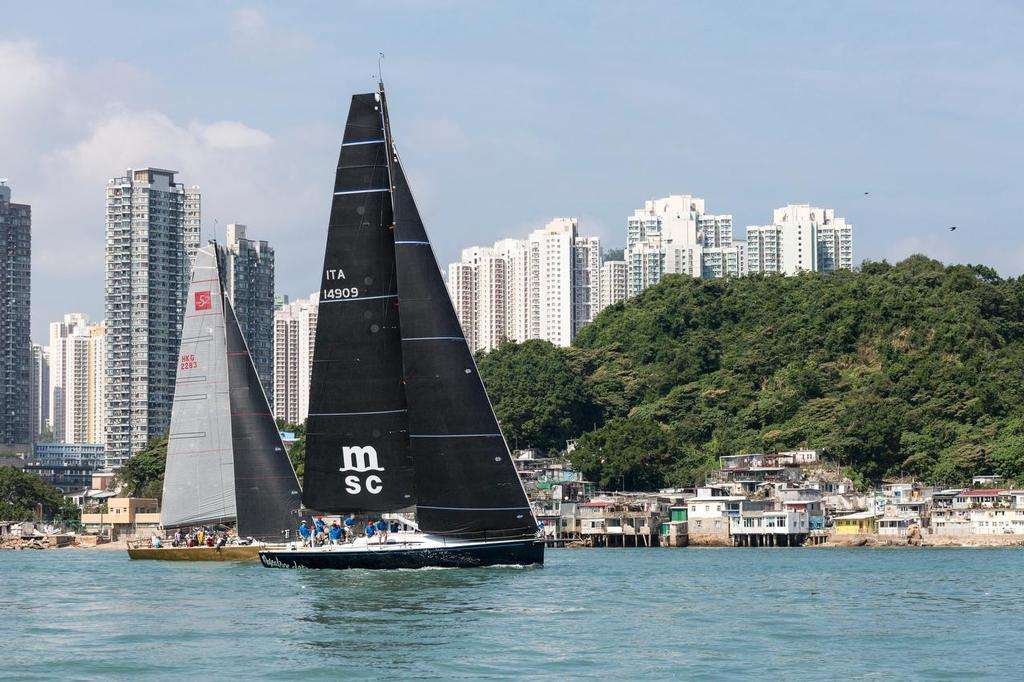 Mascalzone Latino leads Free Fire out through Lei Yue Mun at the start of the 2017 Volvo Hong Kong to Vietnam Race. ©  RHKYC/Guy Nowell http://www.guynowell.com/