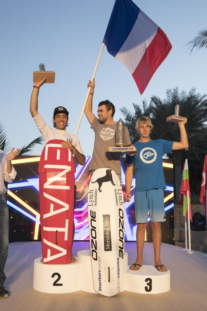 Day 5 – Oman men's podium – From left: Axel Mazella, Nico Parlier and Olly Bridge – Formula Kite World Championships Oman ©  Toby Bromwich