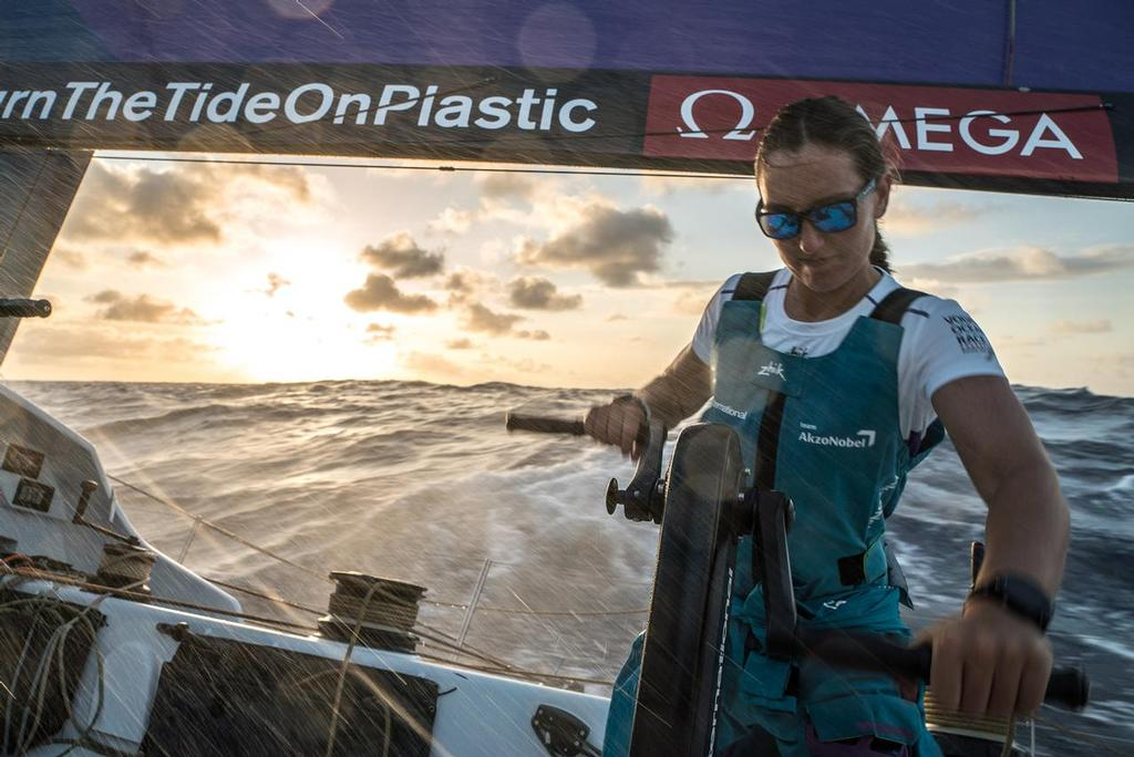 Leg 02, Lisbon to Cape Town, day 9,  on board AkzoNobel. Emily Nagel- the youngest female sailor in the volvo on the eve of her first equator crossing. Volvo Ocean Race. 13 November, 2017. ©  James Blake / Volvo Ocean Race
