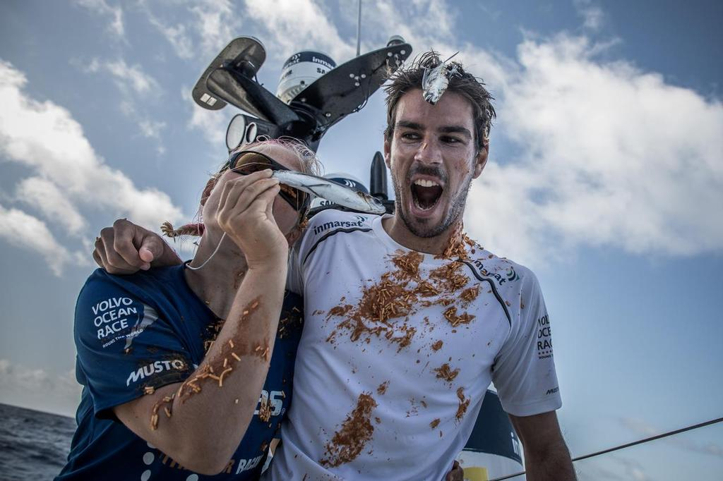 Leg 02, Lisbon to Cape Town, day 09, on board Vestas 11th Hour. Volvo Ocean race. 13 November, 2017. Jena and Martin happy to be alive after the meeting with King Neptune ©  Martin Keruzore / Volvo Ocean Race