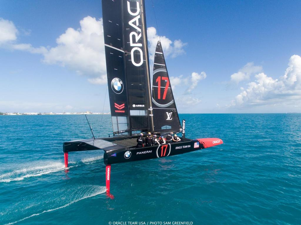 Jimmy Spithill at the helm of Oracle Team USA's AC50 in Bermuda - photo © Sam Greenfield