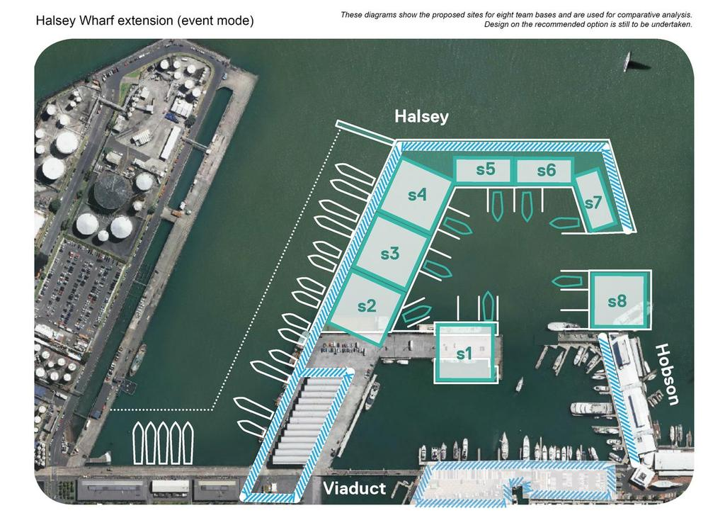America's Cup team base option Halsey Street extension - forming a team basin. The option favoured by Emirates Team NZ. The Media Centre would be housed in the Viaduct Events Centre in the lower left of the image. © Auckland Council http://www.aucklandcouncil.govt.nz