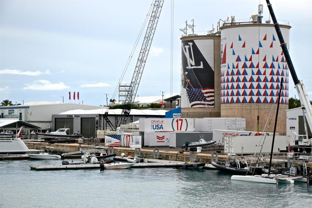 Bermuda did not have an integrated America's Cup base, with most of the teams wedged in between ugly silo tanks. © Richard Gladwell www.photosport.co.nz
