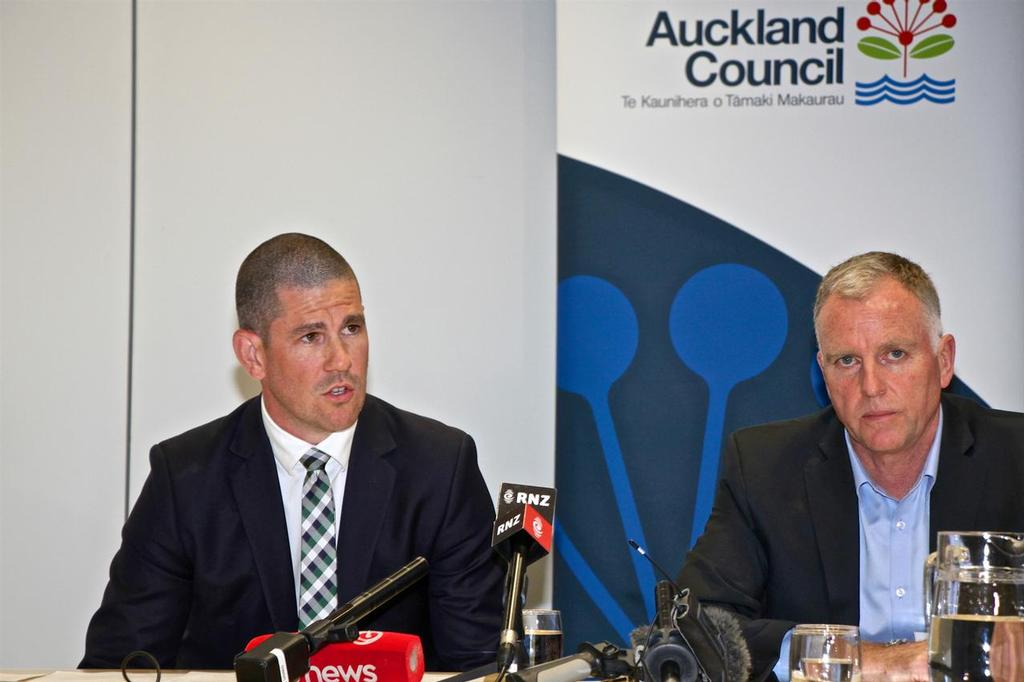 ATEED's Steve Armitage and Panuku Development's Rod Marler front the media after the Council Workshop. © Richard Gladwell www.photosport.co.nz