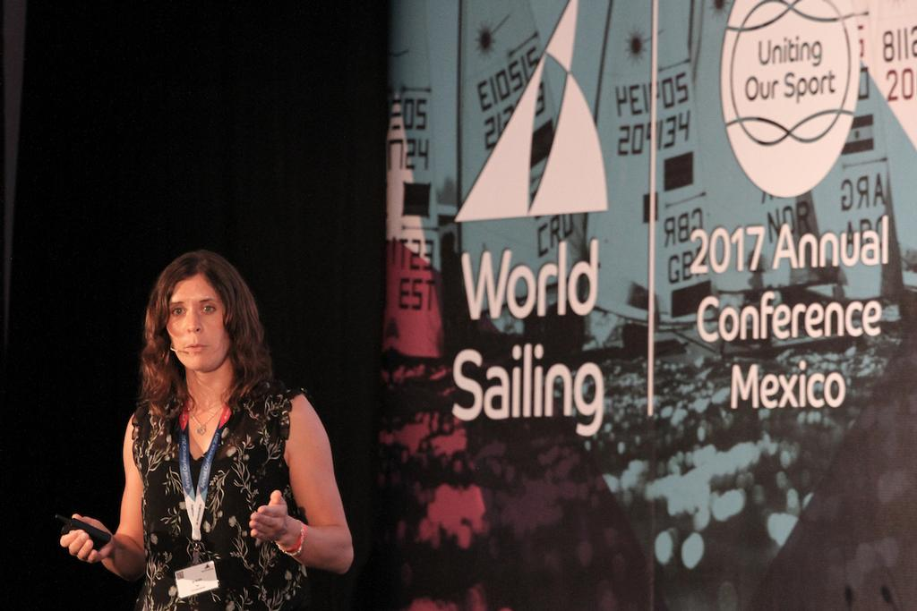 Jo Aleh - Two-time Olympic Medallist & 2013 Rolex World Sailor of the Year appears at World Sailing's Annual Conference - photo © Daniel Smith / World Sailing