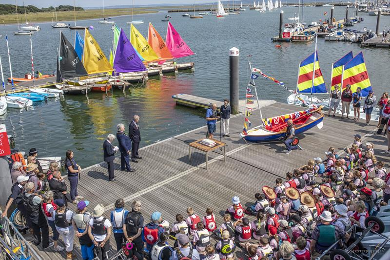 The Commodore, Roger Garlick gives a short speech of welcome before HRH names the new Lymington River Scow on the 35th Anniversary of Royal Lymington Yacht Club's Wednesday Junior Sailing programme - photo © Alex Irwin / www.sportography.tv