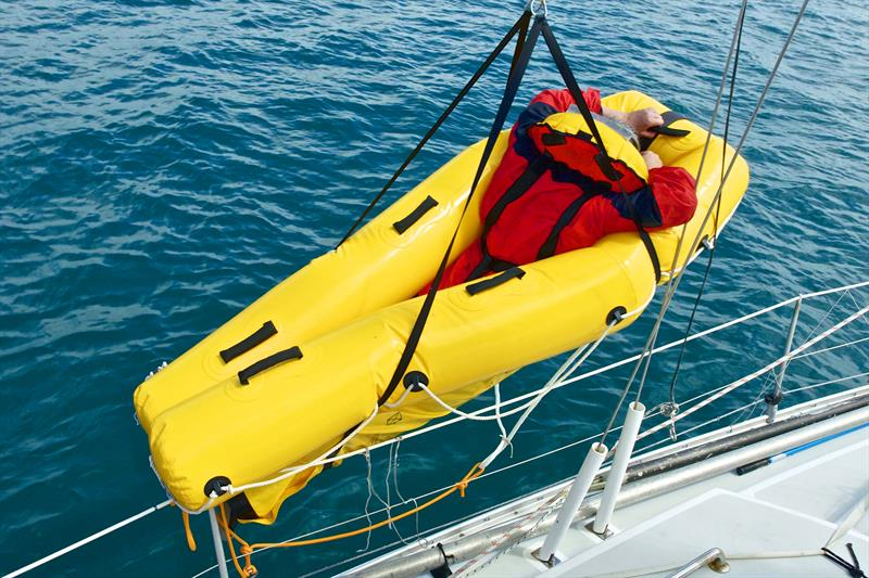 Sea Rescue Sled self inflates into a form that is easy for the sailor to ease into and then be hoisted back on board using a sheet or halyard winch - photo © Lloyd Valentine