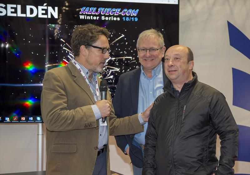 Andy Rice talks with Steve Norbury of Seldén as they are announced as the title sponsor of the SailJuice Winter Series 2018/19 - photo © Tim Olin / www.olinphoto.co.uk