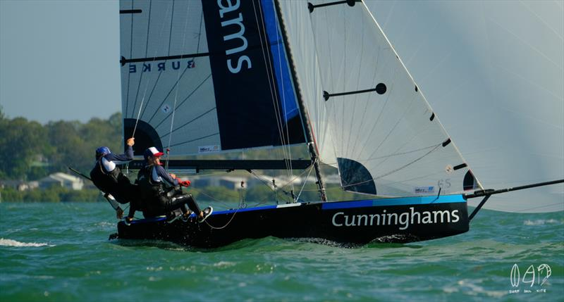Cunninghams heading to the finish of race 3 - photo © Mitchell Pearson / SurfSailKite