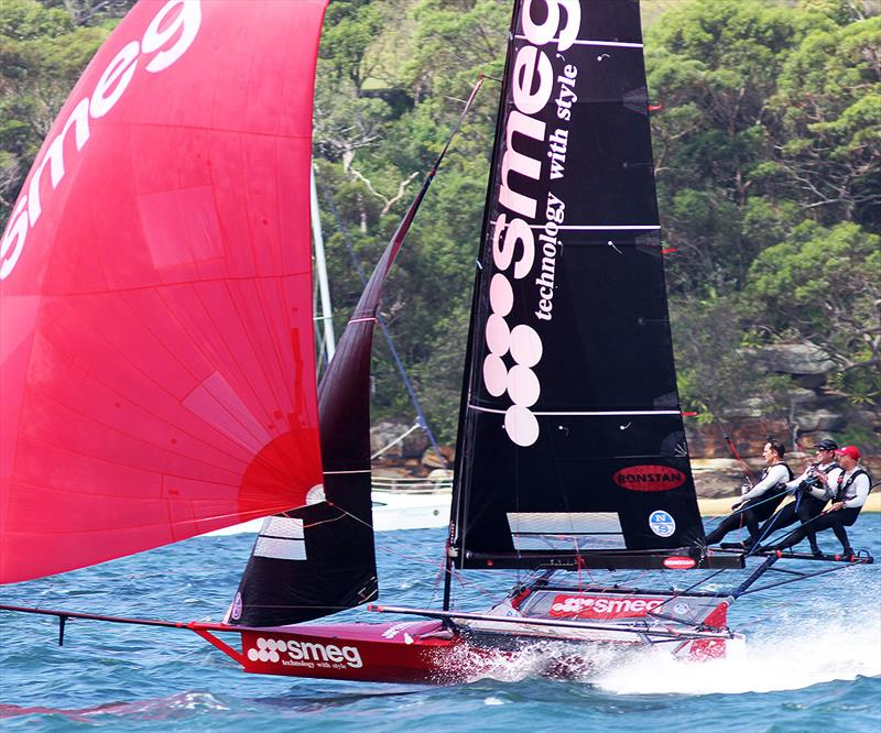 Smeg races to victory in Race 5 on day 3 of the 18ft Skiff Australian Championship 2018 - photo © Frank Quealey