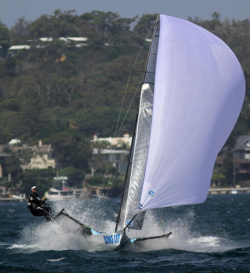 Bing Lee chased hard all day to finish in second place during 18ft Skiff NSW Championship race 4 - photo © Frank Quealey