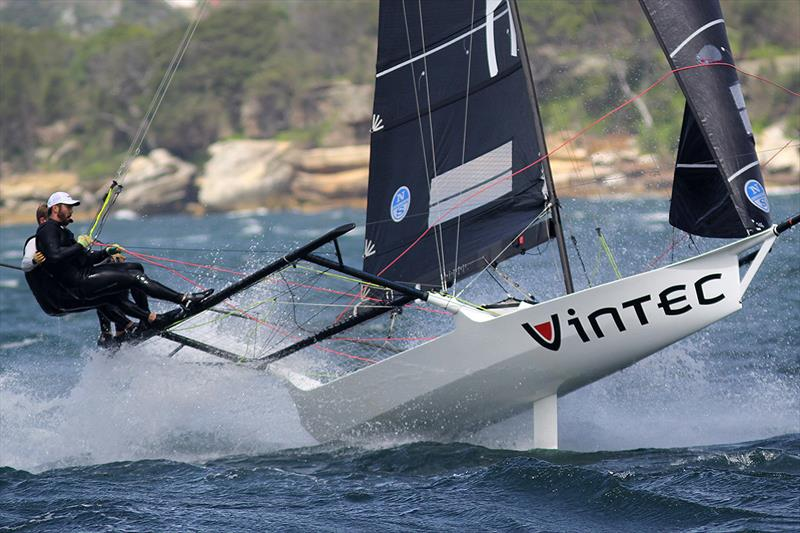 Vintec's crew drive the boat hard but fell foul to the conditions later during 18ft Skiff NSW Championship race 4 - photo © Frank Quealey