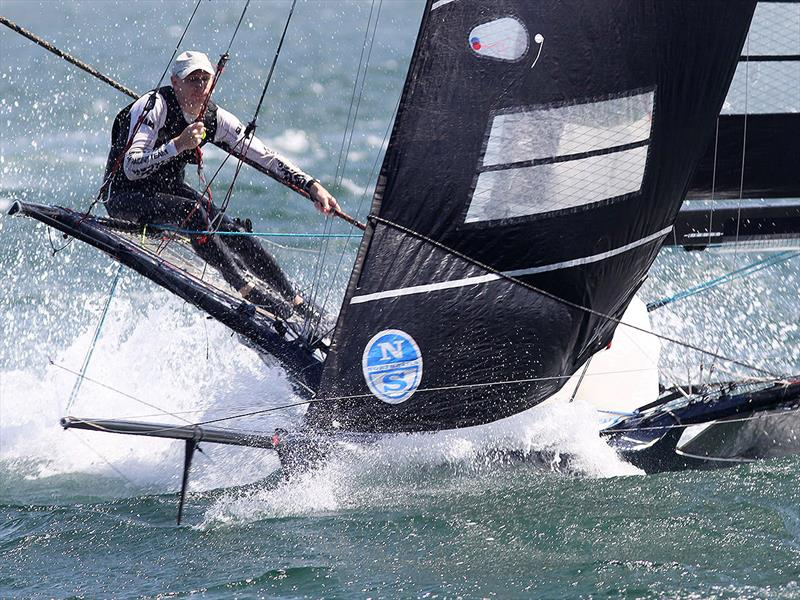 R Marine approaches the bottom mark at top pace on day 2 of the 18ft Skiff Australian Championship - photo © Frank Quealey