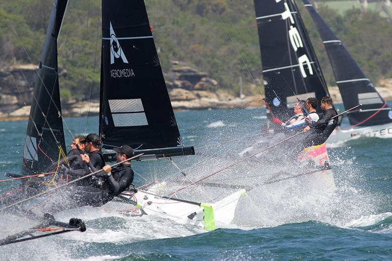 Tight racing as skiffs round the bottom mark in more than 25 knots on day 2 of the 18ft Skiff Australian Championship - photo © Frank Quealey