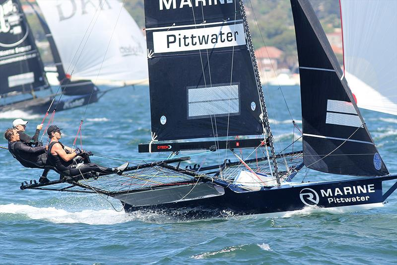 R Marine Pittwater at pace in Race 8 on day 5 of the 18ft Skiff Australian Championship - photo © Frank Quealey
