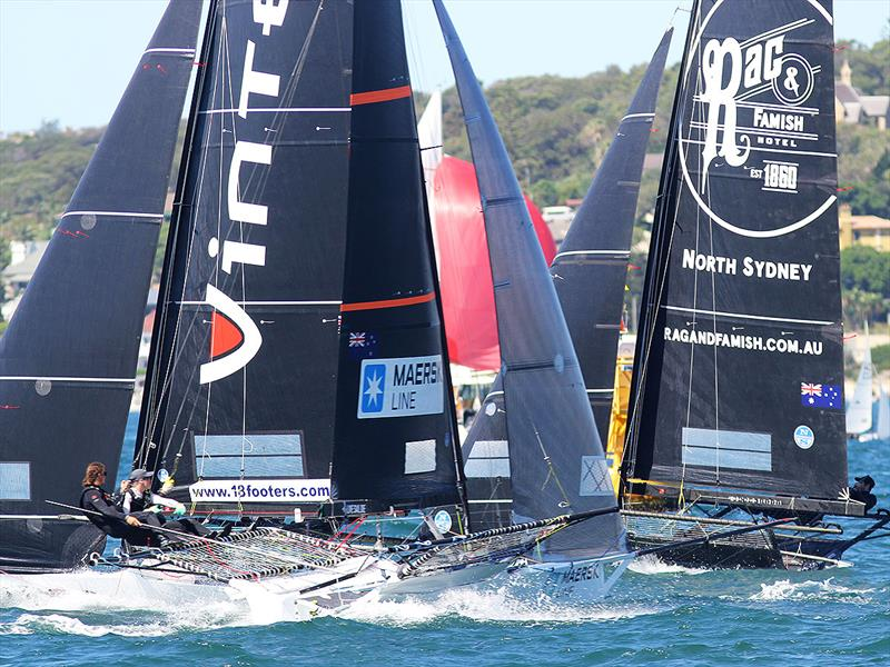 Triple action on the first windward leg during race 2 of the 18ft Skiff JJ Giltinan Championship - photo © Frank Quealey