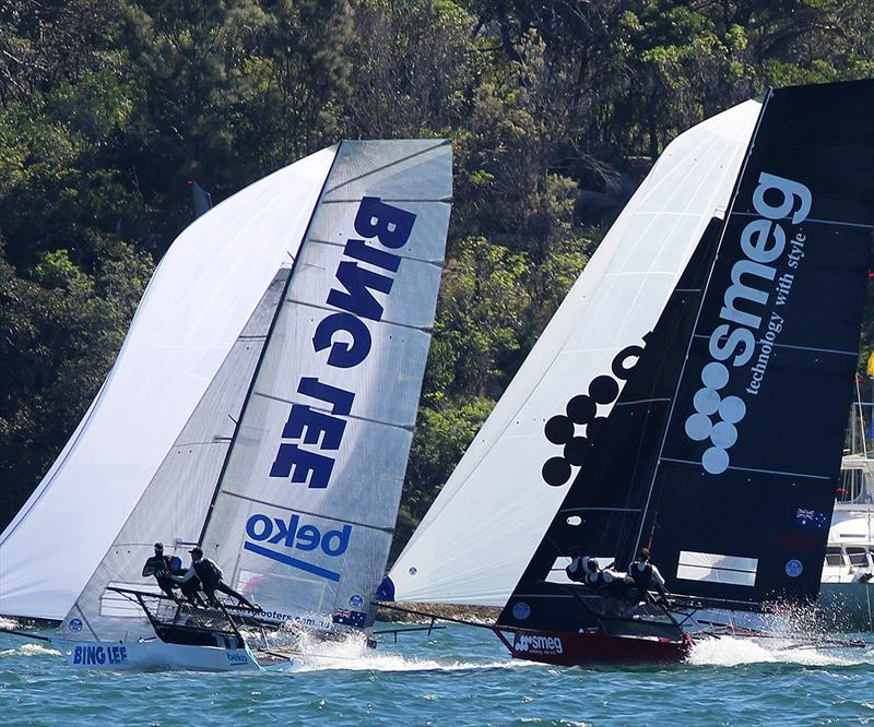 Bing Lee leads Smeg into the bottom mark on the second lap of the course during race 2 of the 18ft Skiff JJ Giltinan Championship - photo © Frank Quealey