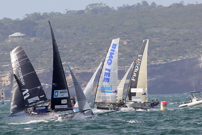 Windward mark rounding on day 3 of the 18ft Skiff JJ Giltinan Championship - photo © Frank Quealey