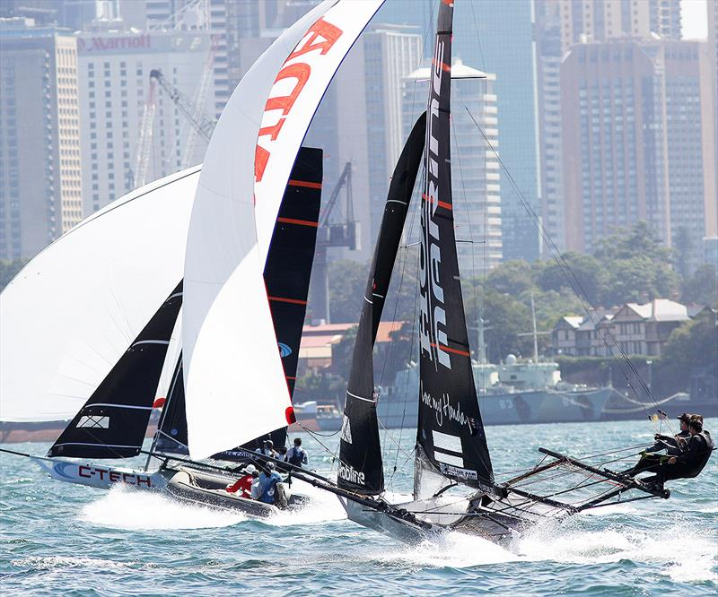 C-Tech was a narrow winner over Honda Marine in Race 3 of the 18ft Skiff JJ Giltinan Championship photo copyright Frank Quealey taken at Australian 18 Footers League and featuring the 18ft Skiff class
