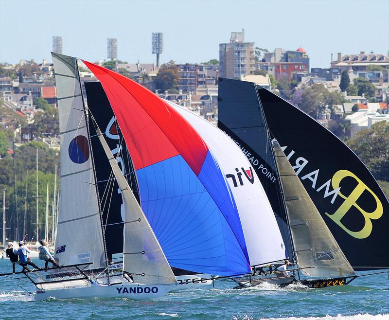 Tight spinnaker action in race 1 of the 18ft Skiff Club Championship on Sydney Harbour photo copyright Frank Quealey taken at Australian 18 Footers League and featuring the 18ft Skiff class