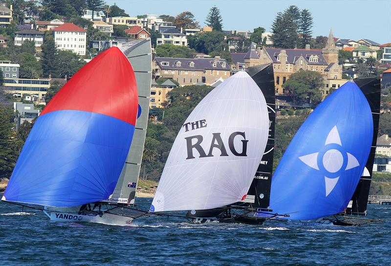 Fleet racing by the group chasing the leader in race 5 of the 18ft Skiff Spring Championship on Sydney Harbour - photo © Frank Quealey