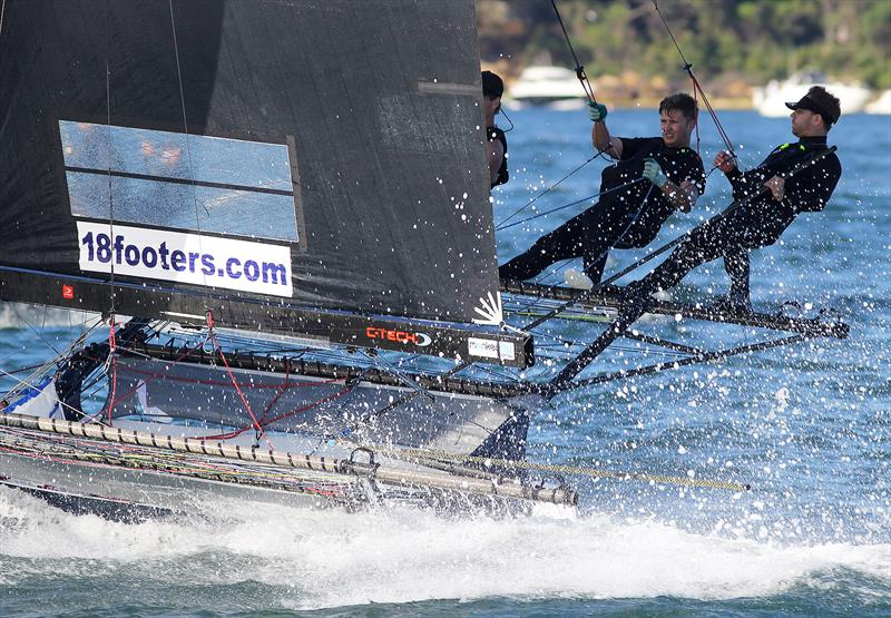 R Marine Pittwater flashes home in race 6 of the 18ft Skiff Spring Championship on Sydney Harbour - photo © Frank Quealey