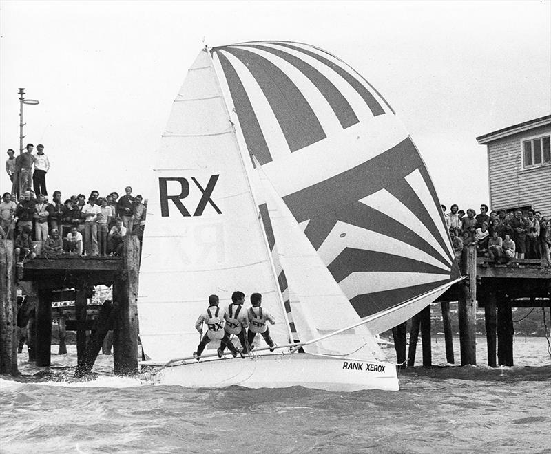 New Zealand's 18ft Skiff Racing Record: Rank Xerox races past the crowd on Orakei Wharf - photo © Archive