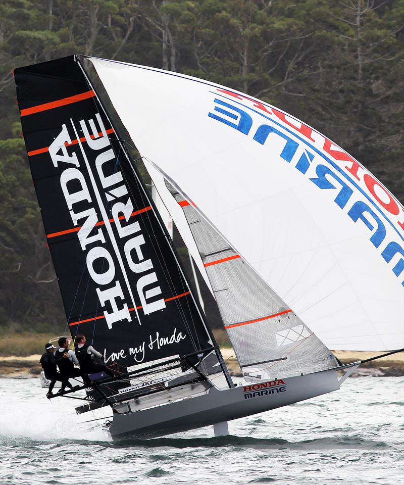 New Zealand's 18ft Skiff Racing Record: Honda Marine, spinnaker action in 2019 - photo © Frank Quealey