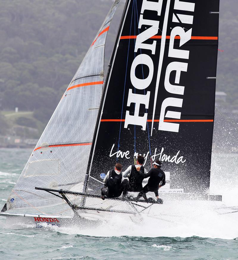 New Zealand's 18ft Skiff Racing Record: Honda Marine on a two-sail reach across Sydney Harbour in 2019 - photo © Frank Quealey