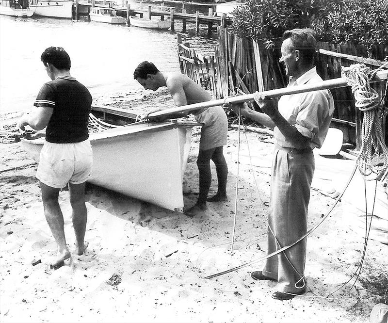 Alf Beashel and his team prepare Alruth on the beach alongside the League clubhouse - photo © Archive
