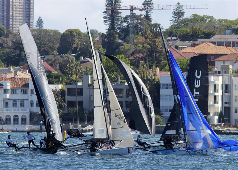 Bunched at the first 'red' windward mark during 18ft Skiff Spring Championship Race 5 - photo © Frank Quealey