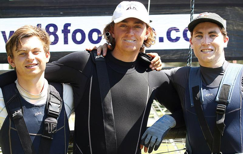 18ft Skiff Spring Championship: The rookie Vintec team members (l-r) Alex Marinelli, Flynn Twomey & Tom Cunich photo copyright Frank Quealey taken at Australian 18 Footers League and featuring the 18ft Skiff class