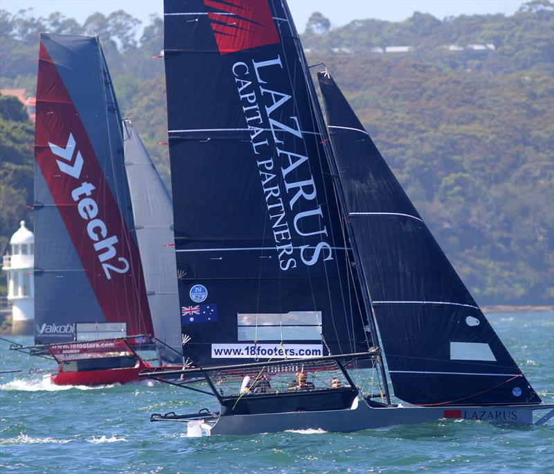The Australian champion tech2 and the Lazarus Capital Partners rookie teams on the first windward leg during 18ft Skiff Spring Championship Race 7 - photo © Frank Quealey