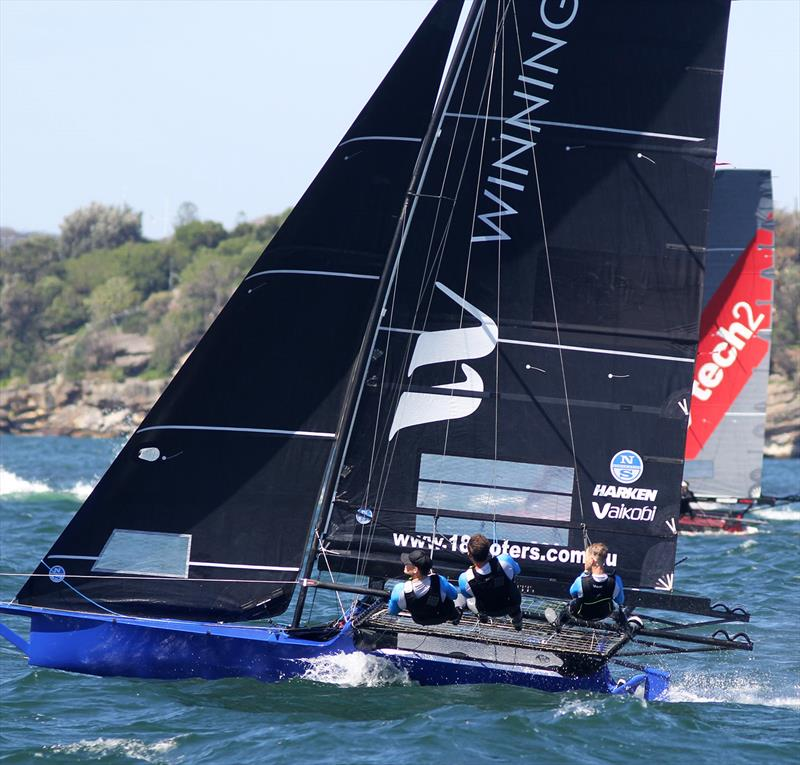 Winning Group looked to have tech2 covered on the final windward leg of the course during 18ft Skiff NSW Championship Race 3 - photo © Frank Quealey