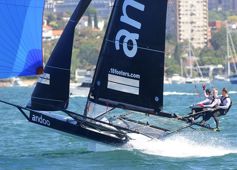 Great effort all day by the Andoo team to take third place in 18ft Skiff NSW Championship Race 3 - photo © Frank Quealey