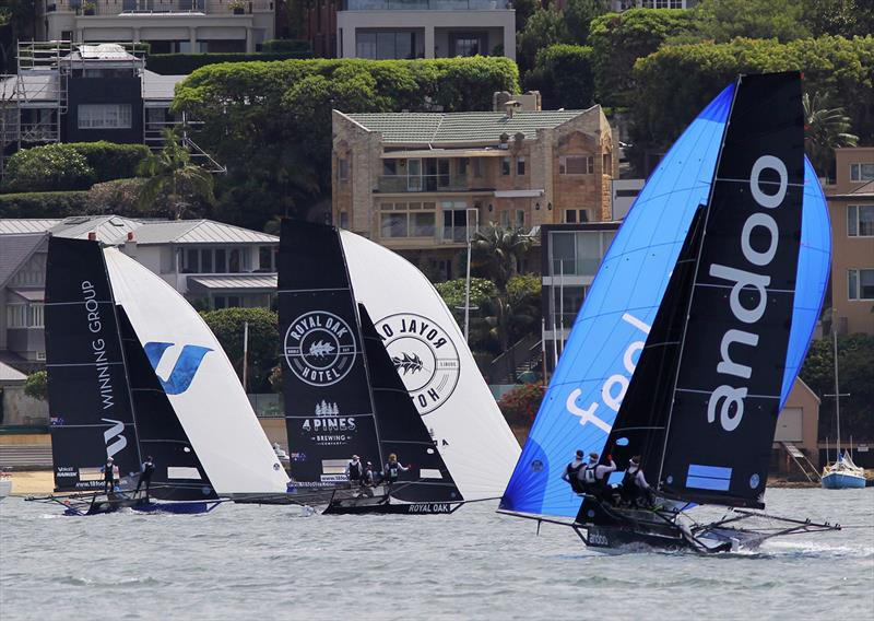 Action as the three leaders go to the wing mark on the first lap of the course during 18ft Skiff NSW Championship Race 4 - photo © Frank Quealey