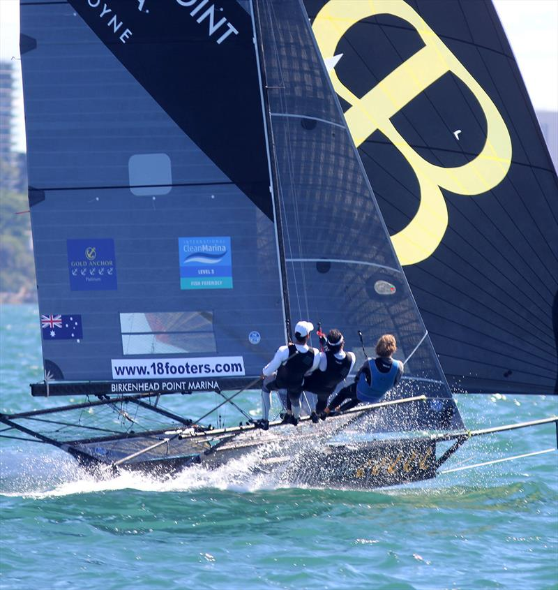 Smooth work by the Birkenhead Point Marina crew during 18ft Skiff NSW Championship Race 5 photo copyright Frank Quealey taken at Australian 18 Footers League and featuring the 18ft Skiff class