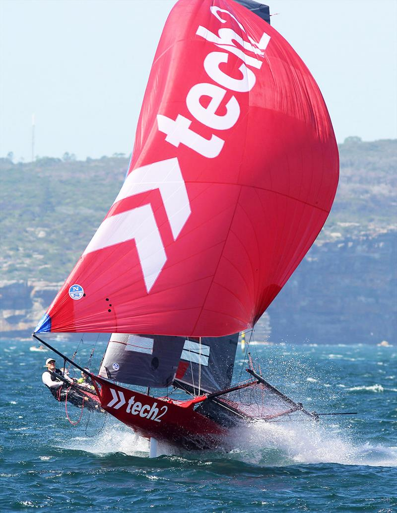 Championship leader tech2 on the way to winning Race 2 of the 18ft Skiff Australian Championship - photo © Frank Quealey
