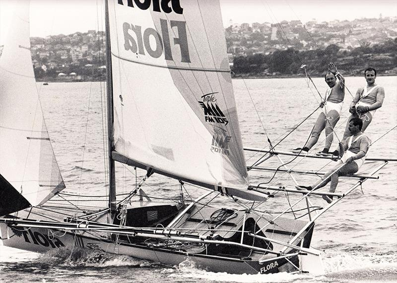 Jay Harrison, sheet hand, with skipper John Winning and bow Grant Pollitt on Flora-Triple M in the late 1980s - photo © Archive